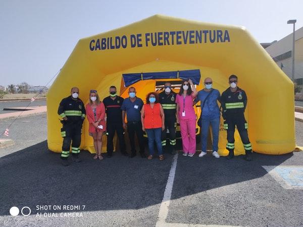 Cabildo de Fuerteventura instala a petición del Servicio Canario de Salud una carpa para la toma de muestras PCR